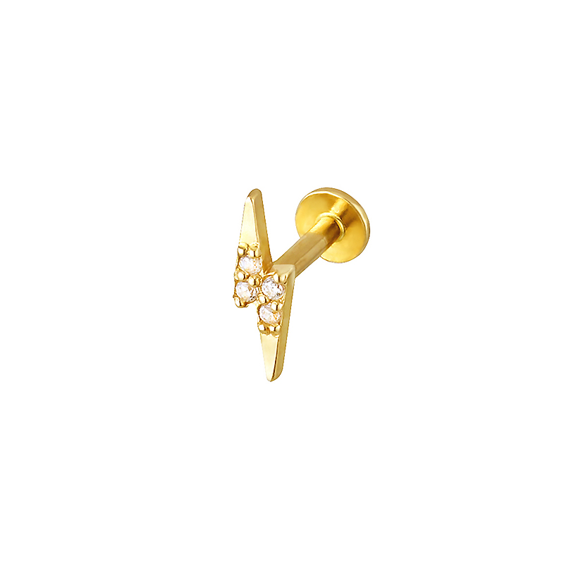 Pave Lightning Bolt Labret Piercing- 14K Gold
