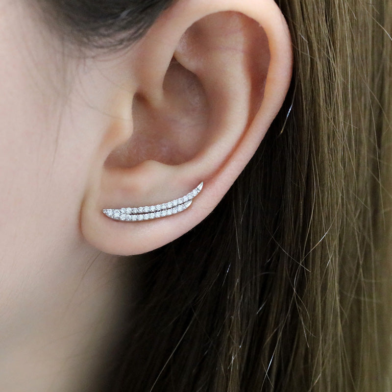 CZ Double Line Ear Climbers