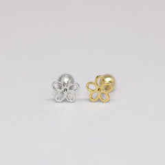 Line Flower Cartilage Stud