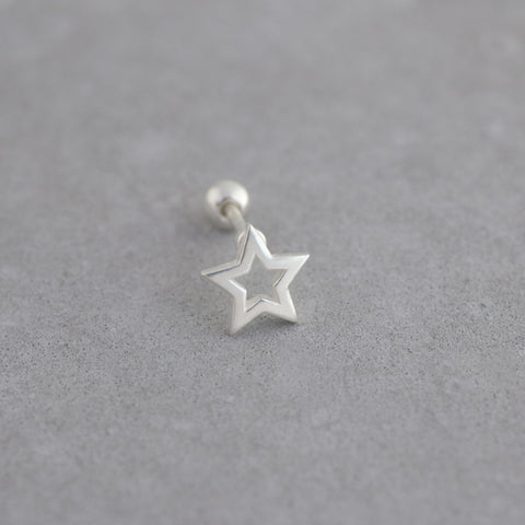 star stud piercing made from sterling silver