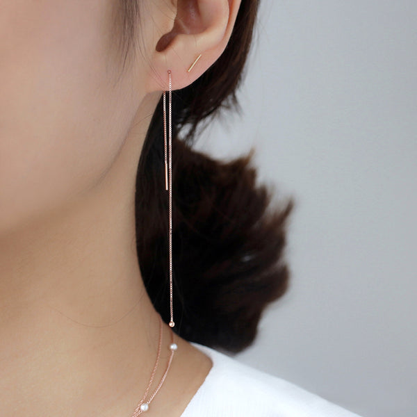 Simple Chain Threader Earrings