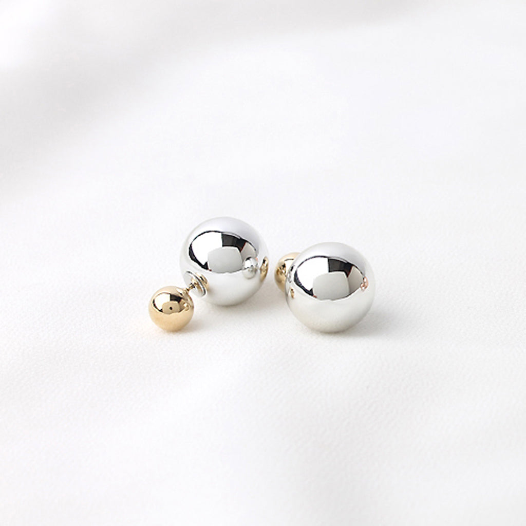 Silver and Gold Double Ball Front Back Stud Earrings
