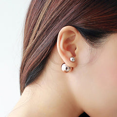 Double Ball Front Back Stud Earrings