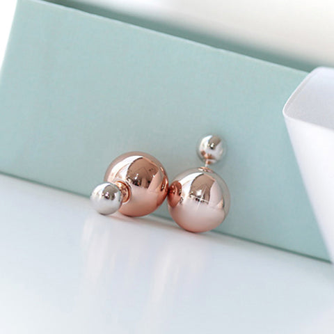 cee1dbbc3701dc Double Ball Front Back Stud Earrings | Serendipity in Seoul