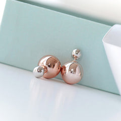 Silver and Rose Gold Double Ball Stud Earrings