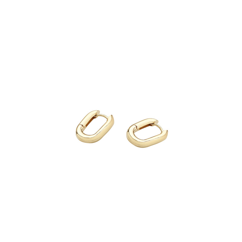 a pair of gold mini oval hoops