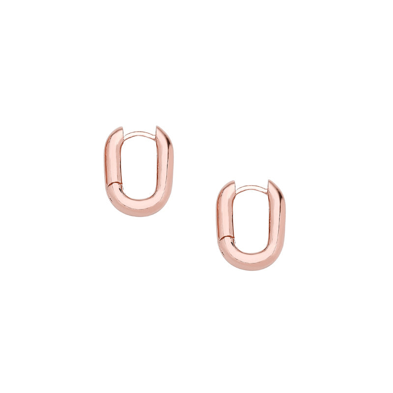 small oval hoop earring in rose gold