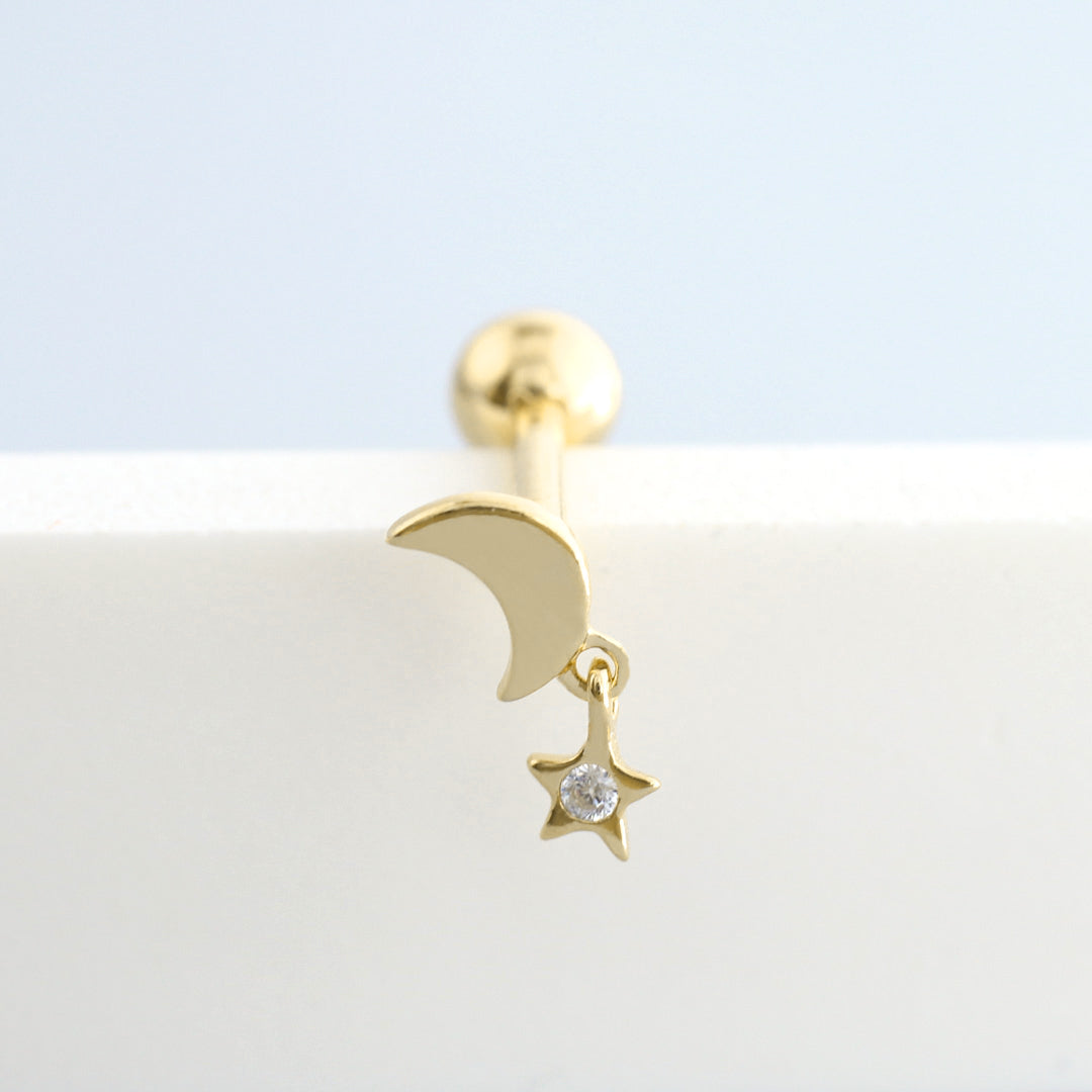 Moon Star Cartilage Piercing- Sterling Silver & 14K Gold