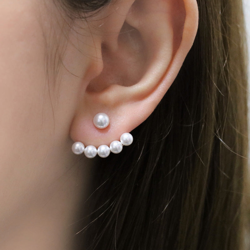 Multiple Pearl Ear Jacket Earrings