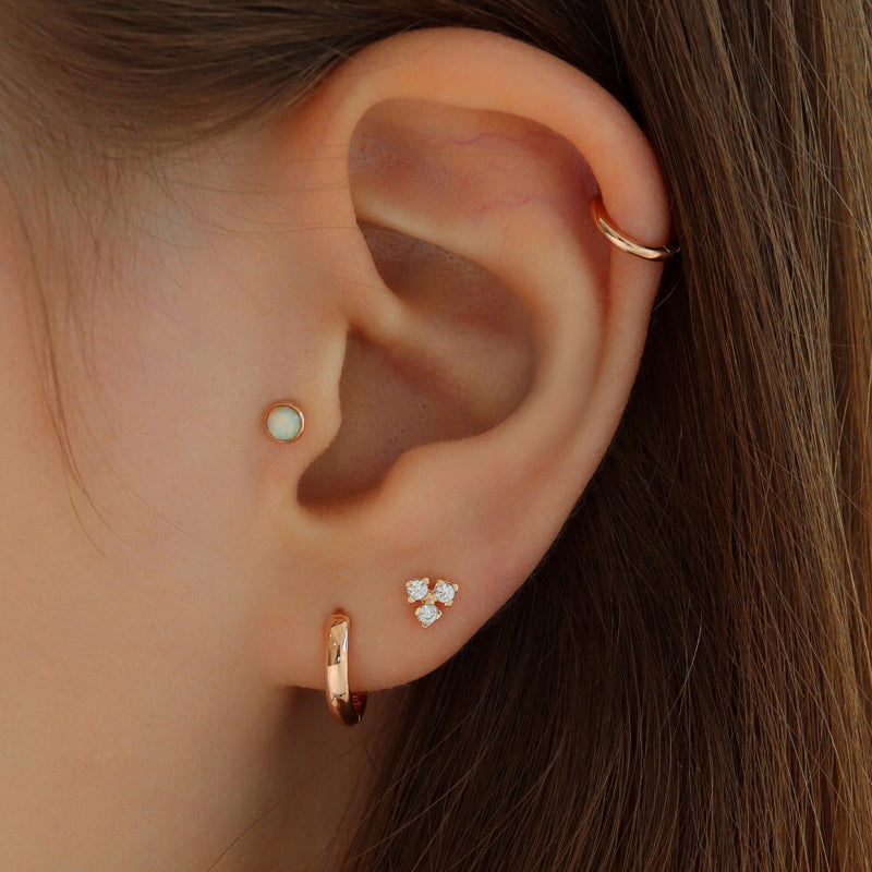 Trio CZ Cartilage Piercing- 14K Gold