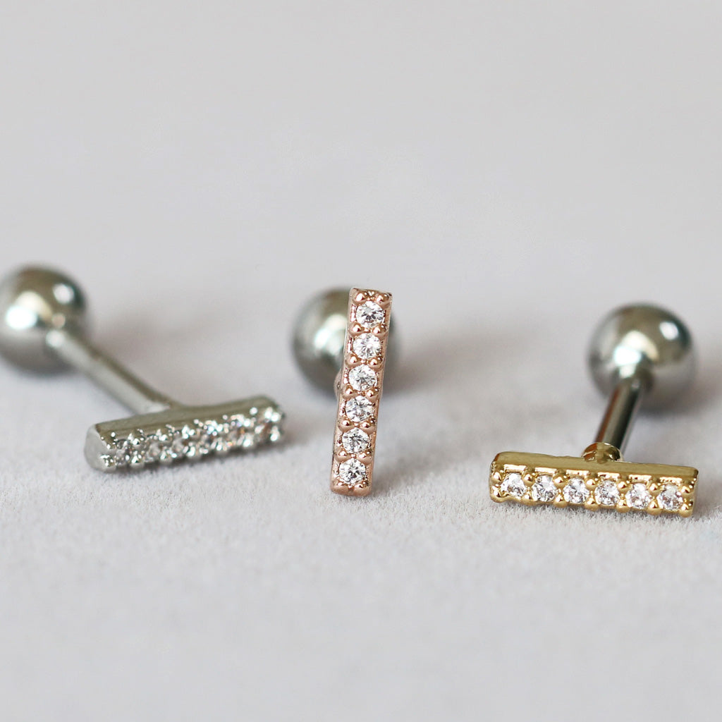 CZ Bar Cartilage Earring