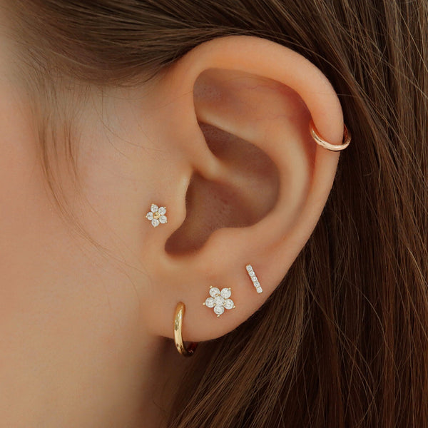 Small Pave Bar Stud Piercing- 14K Gold