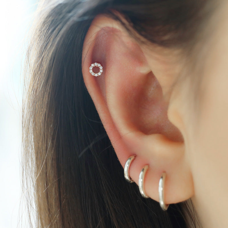 Pave Circle Cartilage Piercing- Sterling Silver
