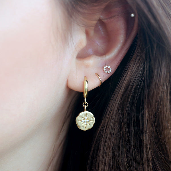 Tiny Pave Circle Stud- 14K Gold