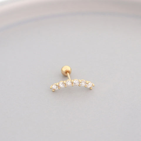 Curved Pave Bar Stud- 14K Gold