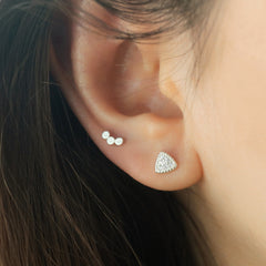 Pave Triangle Stud Piercing- Sterling Silver