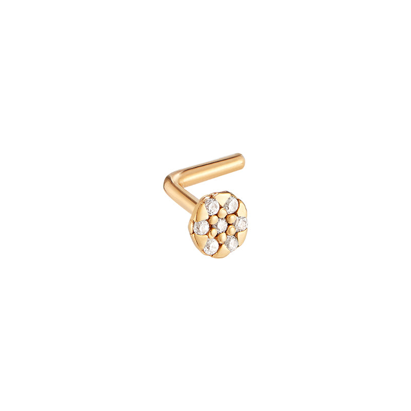 Pave Disc L-Shape Nose Stud- 14K Gold