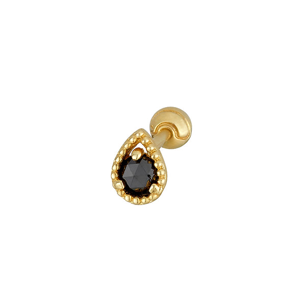 Pear Black Diamond Cartilage Piercing- 14K Gold