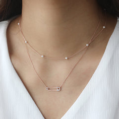 Pearl Chain Choker- Sterling Silver