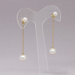 Double Pearl Chain Drop Earrings