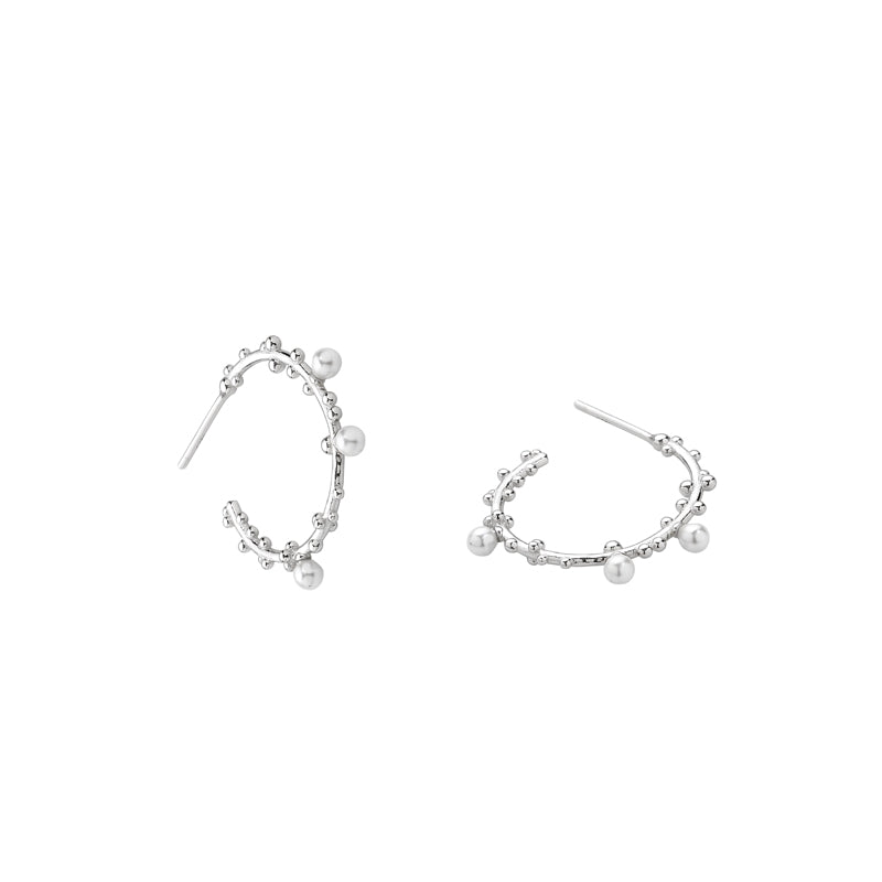 Pearl Dotted Hoop Earrings- Sterling Silver