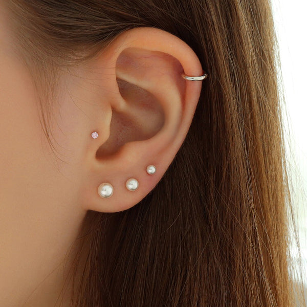 Single Pearl Stud Piercing- Sterling Silver