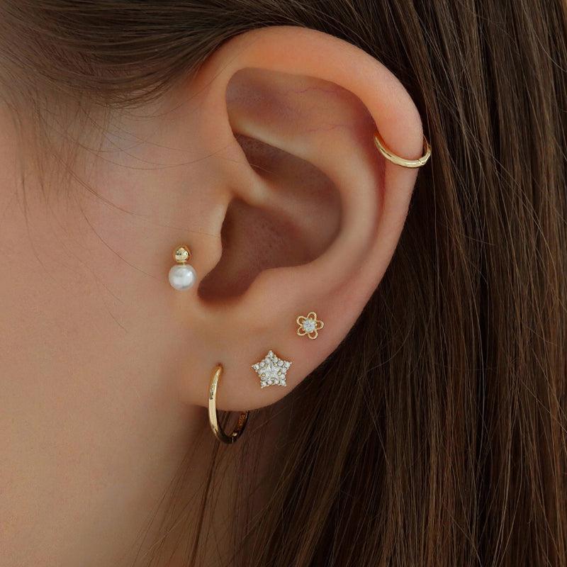 Mini Flower Cartilage Piercing- Sterling Silver