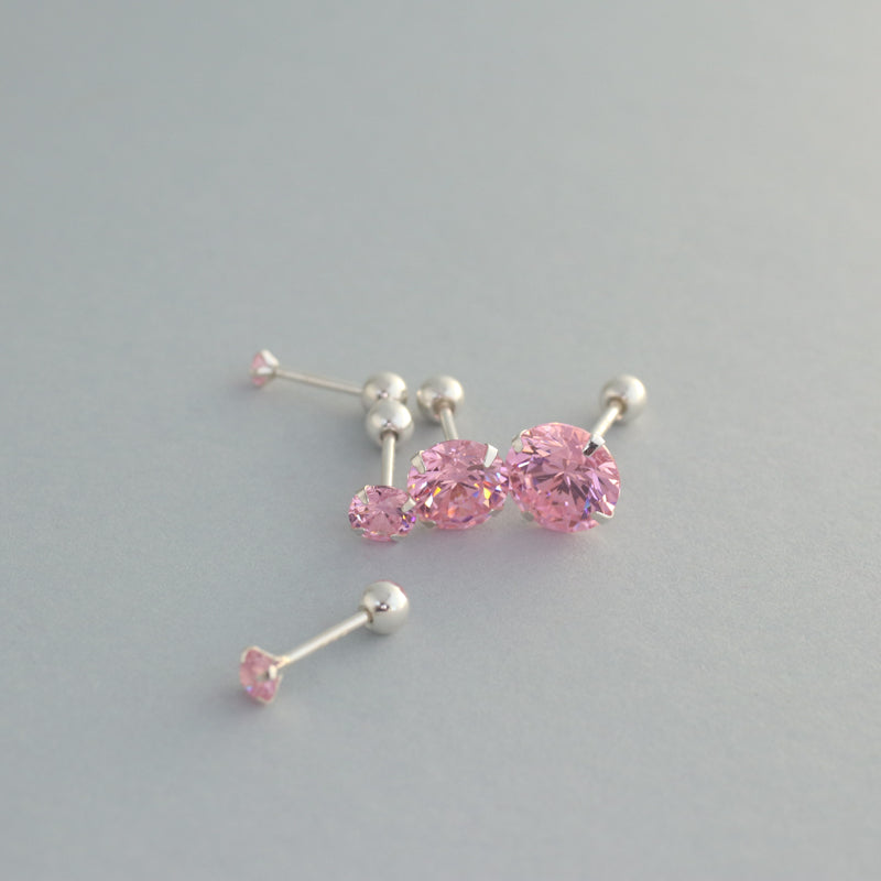 Pink CZ Stud Barbell- Sterling Silver
