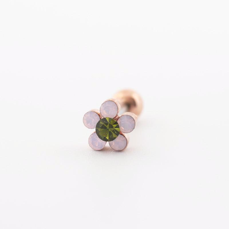 rose gold pretty flower stud earring featuring pink CZ