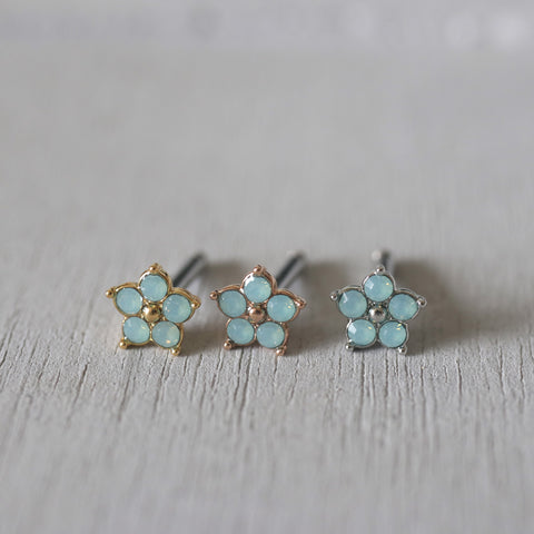 Green Flower Cartilage Stud Earring