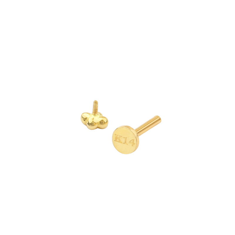 Quad Bead Labret Piercing- 14K Gold