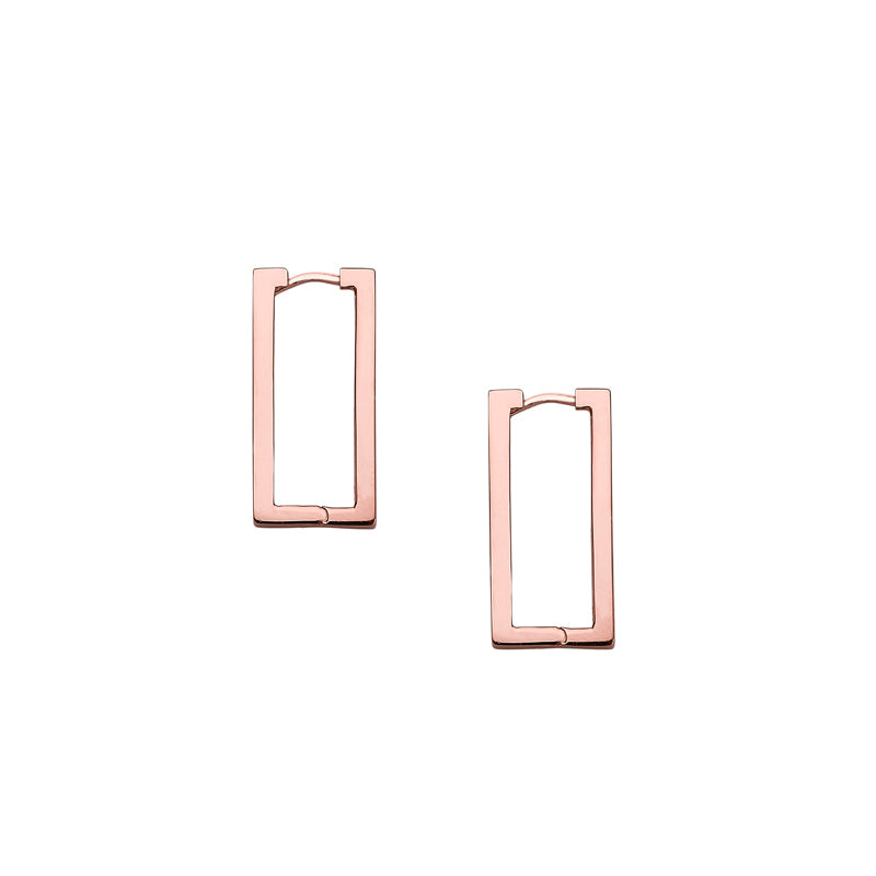 Rectangle Hoop Earrings- Sterling Silver