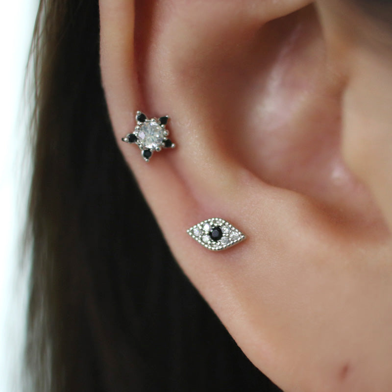 CZ Pave Evil Eye Cartilage Stud Earring