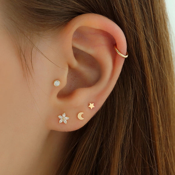 3mm Tiny Star Stud- 14K Gold