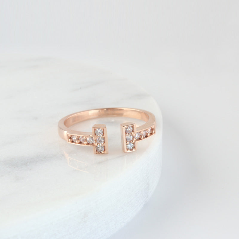 Sterling Silver Double Line Open Ring
