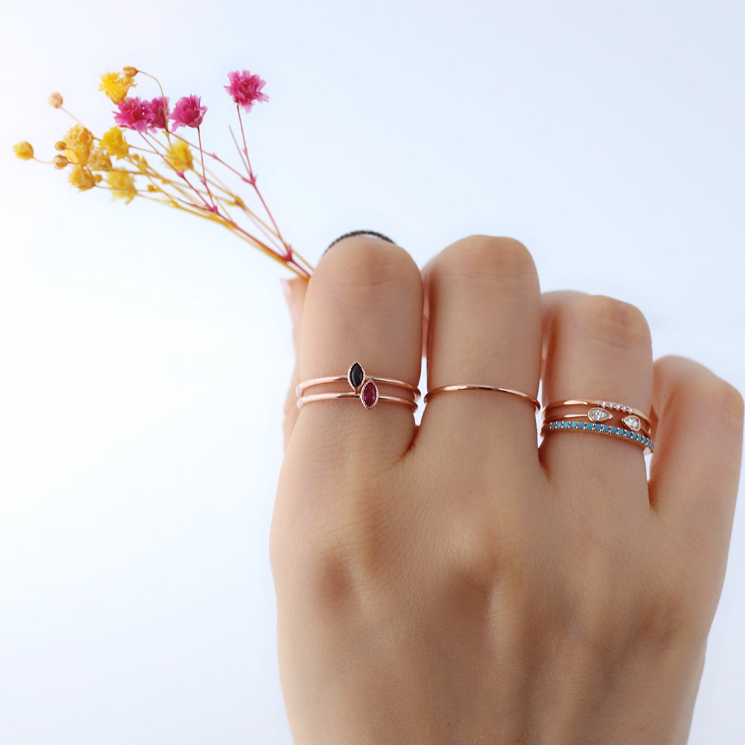dainty stacked basic slim rings