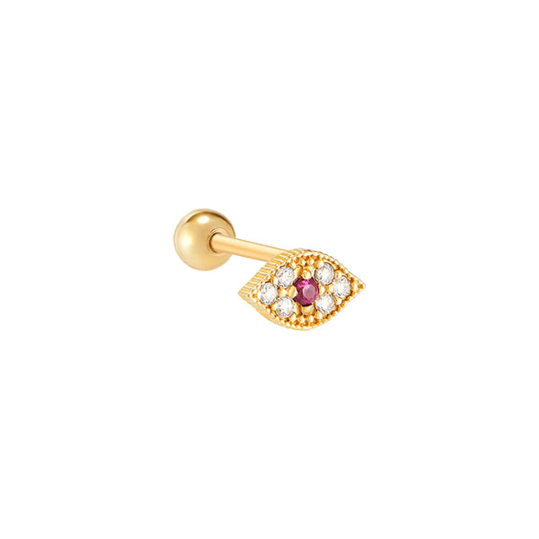 Ruby Evil Eye Ear Piercing- 14K Gold