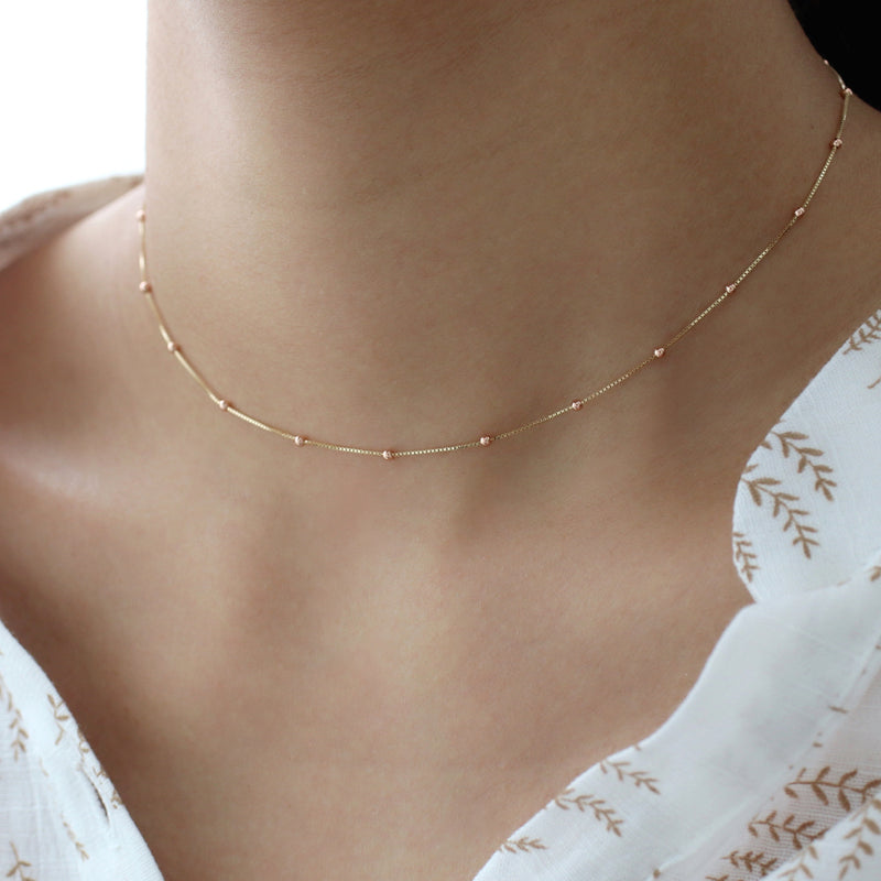 Satellite Ball Chain Choker- 14K Gold