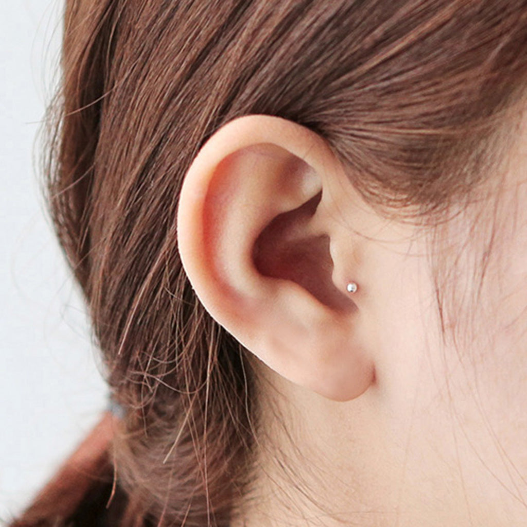 tiny 2mm tragus ball barbell earring