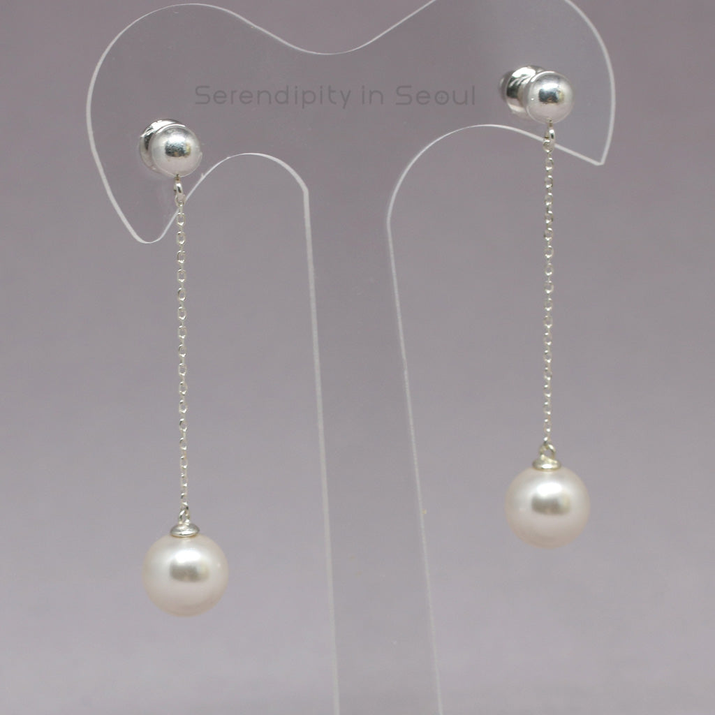 sterling silver chain pearl drop earrings