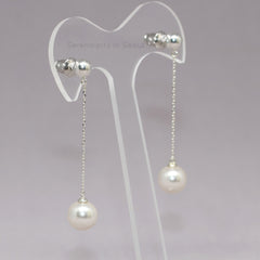 sterling silver pearl chain drop earrings