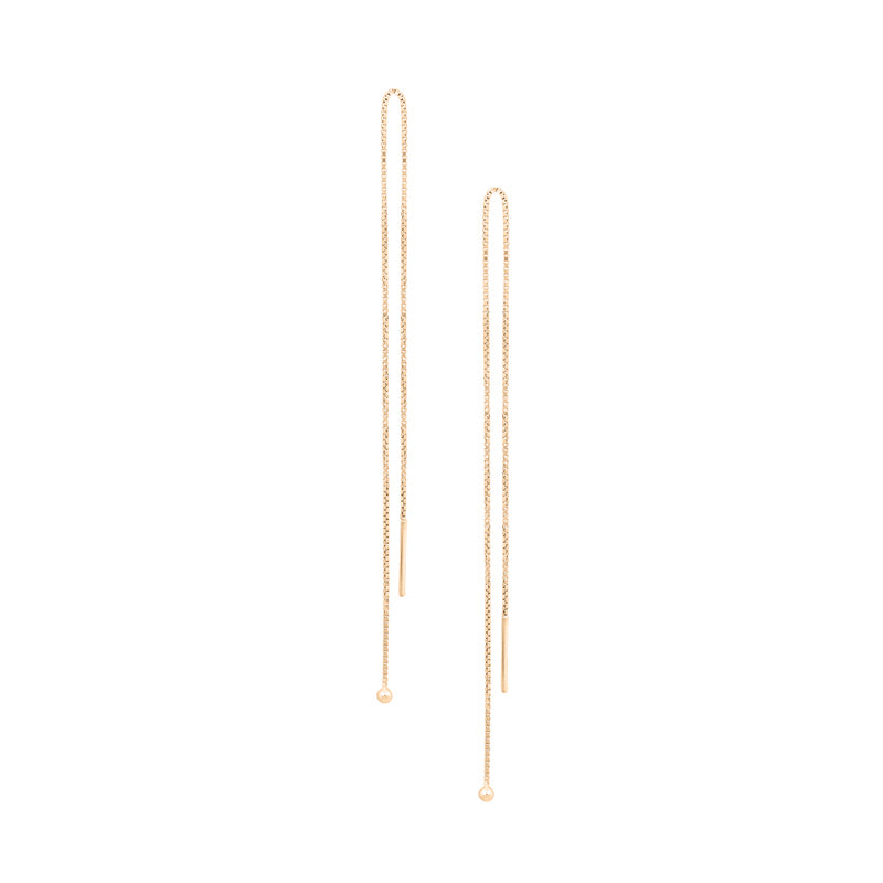 Simple Chain Threader Earrings in Gold