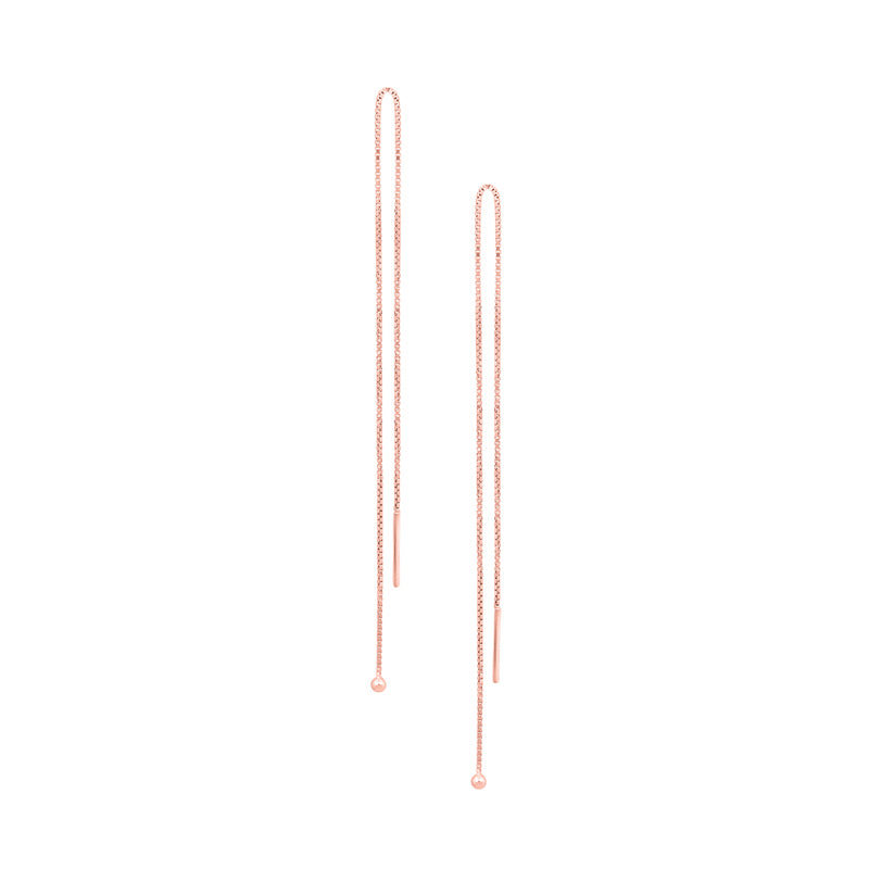 Simple Chain Threader Earrings in Rose Gold