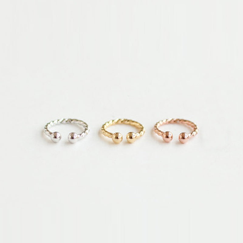 no piercing twist ear cuffs in silver, gold and rose gold