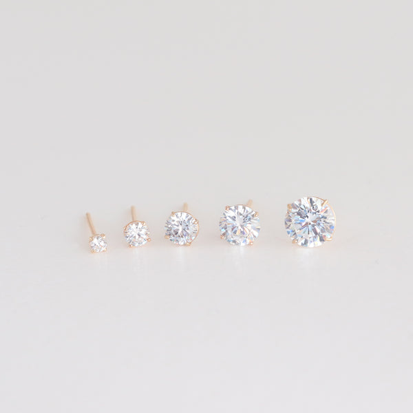 Round CZ Stud Earring- 14K Gold