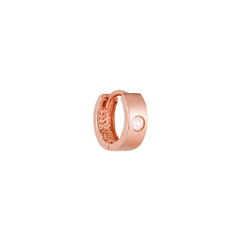 Single Stone Bold Huggie Hoop- 14K Gold