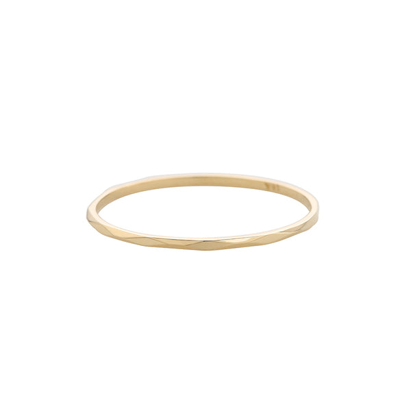 14K Gold Skinny Faceted Ring