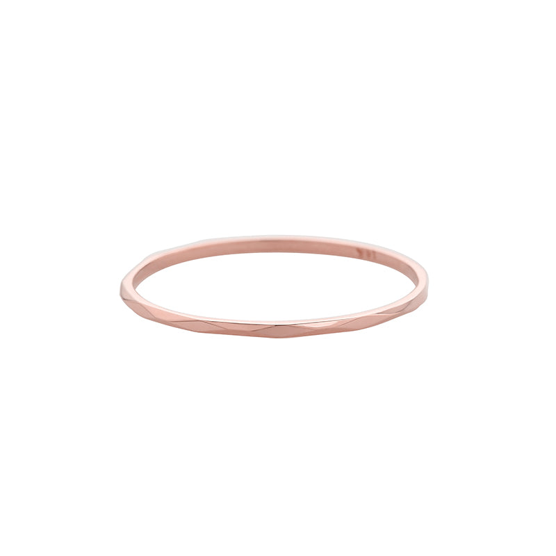 skinny faceted ring made from 14k rose gold