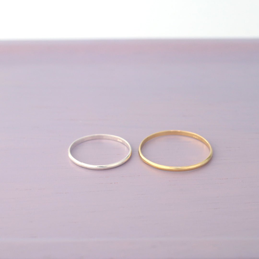 925 silver thin stacking band ring