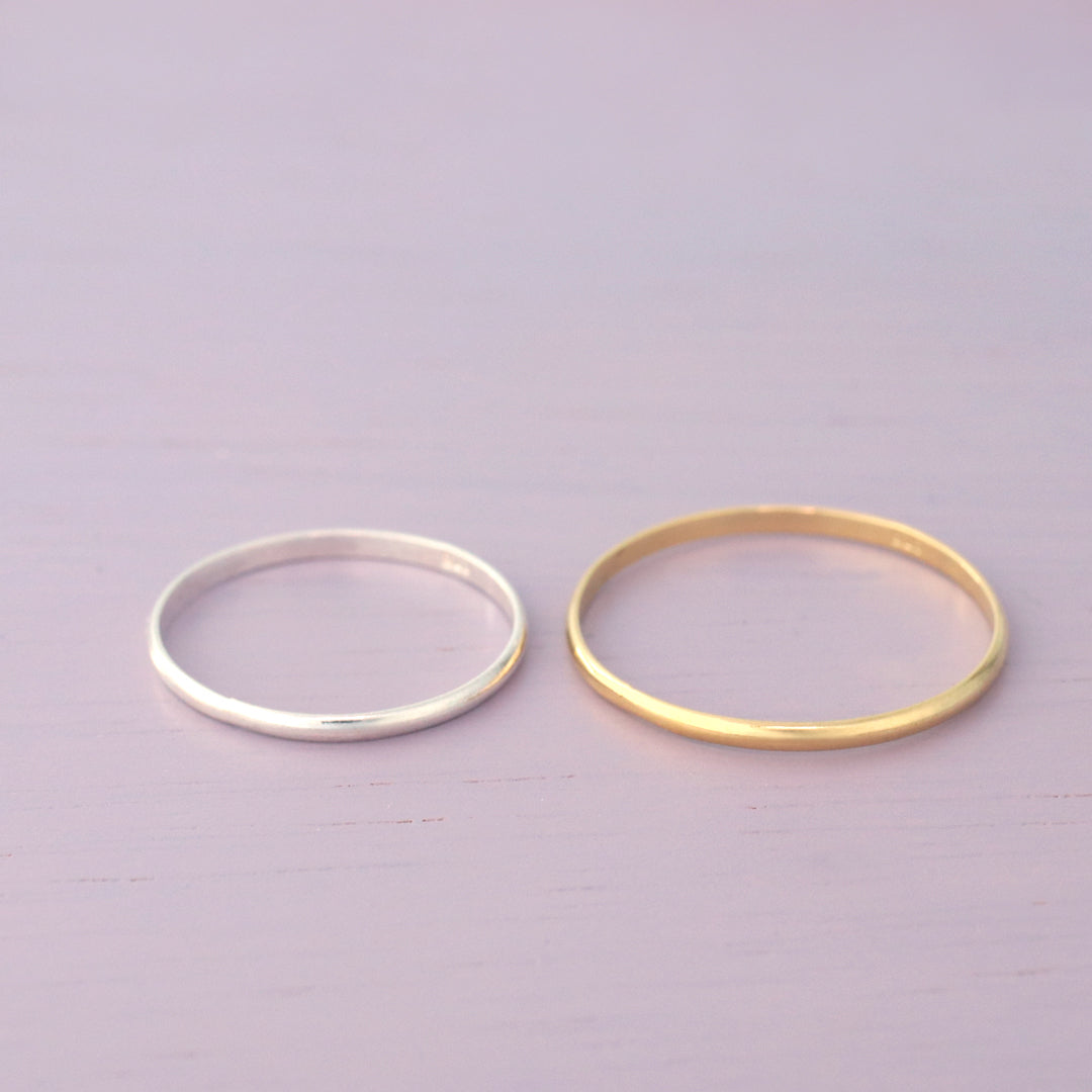 skinny stacking band ring made from sterling silver